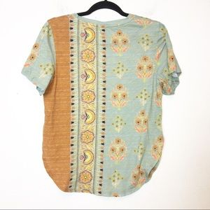 Anthropologie Tops - Anthro Postmark Blue and Orange Floral Tee